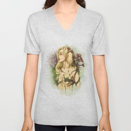 """Watercolor Painting of Picture """"Profile Woman"""" Unisex V-Neck"""