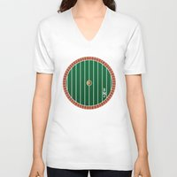 the hobbit V-neck T-shirts featuring Hobbit Door by Jonathan Knight