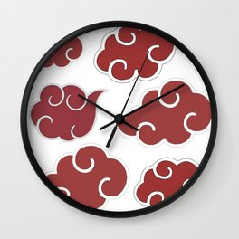 Akatsuki Clouds from Naruto Shippuden Red and White Wall Clock