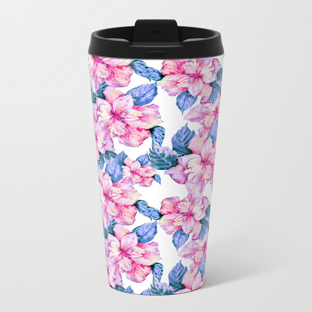 Hand Painted Blush Pink Lilac Watercolor Tropical … Travel Cup TRM8710785