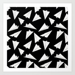 Paper Planes Pattern | Black and White Art Print
