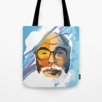 hayao miyazaki Tote Bags featuring Miyazaki by zero Bounty
