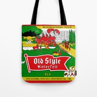 ale giorgini Tote Bags featuring Old Style Northern Ale by theyellowsnowco