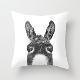 Hey Donkey BW Throw Pillow