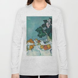 """Paul Cezanne """"Still Life with Apples and a Pot of Primroses"""" Long Sleeve T-shirt"""