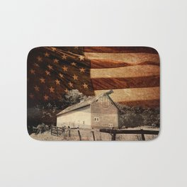 Rustic Barn Americana Heartland Farmhouse Country Flag Decor Art A464 Bath Mat