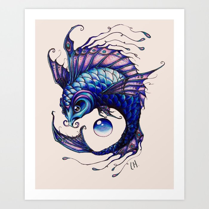 Purple koi fish drawing art print by lyndseylou society6 for Purple koi fish