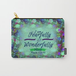FEARFULLY AND WONDERFULLY MADE Floral Christian Typography God Bible Scripture Jesus Psalm Abstract Carry-All Pouch