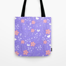 Cute bird and flower pattern Tote Bag