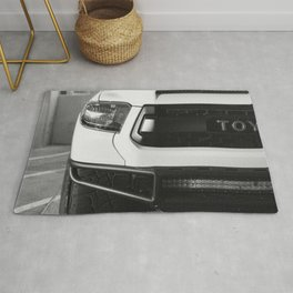 """TOY"" Tundra // Black and White Monster Truck Geared Out Big Wheels Matte Black Grille Rug"