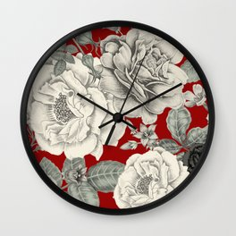 SEPIA FLOWERS ON RED Wall Clock
