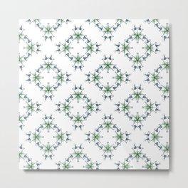 Green and Teal Geometric  Tile Graphic Design Metal Print
