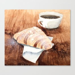 Croissant and Coffee Canvas Print