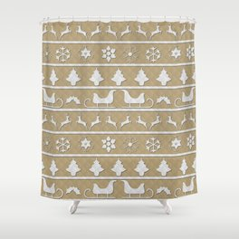 Gold & White Christmas Ugly Sweater Nordic Knit Shower Curtain