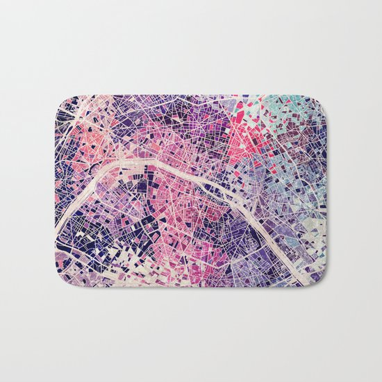 Paris Mosaic map #1 Bath Mat