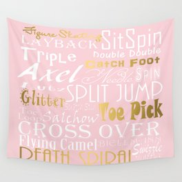 Figure Skating Subway Style Typographic Design Millennial Pink and  Gold Foil Wall Tapestry