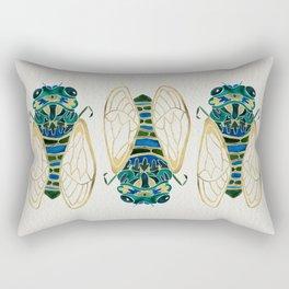 Green & Gold Cicada Rectangular Pillow
