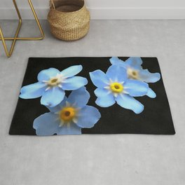 Forget Me Nots Remembrance Flowers On Black Background Rug