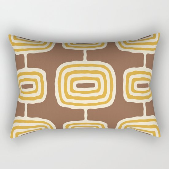 Mid Century Modern Atomic Rings Pattern 264 Yellow Brown and Beige by tonymagnerdesign