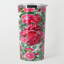 Watercolor heart with floral design Travel Mug