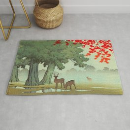 Vintage Japanese Woodblock Print Nara Park Deers Green Trees Red Japanese Maple Tree Rug