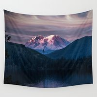 mineral Wall Tapestries featuring Sunset Mt. Rainier, Mineral, Washington by Elliott's Location Photography