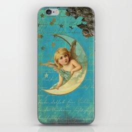 Vintage-Shabby-chic- Beautiful Christmas angel on aqua background iPhone Skin