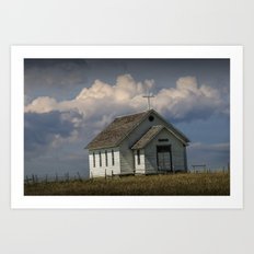 Old Rural Country Church on the Prairie in South Dakota at 1880 Town No.367 Art Print