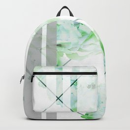 Abstract Geometric Lines Green Peonies Flowers Design Backpack