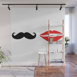 She & He: lips ad moustache Wall Mural