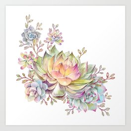 succulent watercolor 5 Art Print