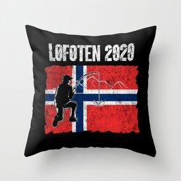 Fishing Trip Norway Lofoten 2020 Fisherman Dad Son Throw Pillow
