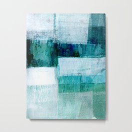 Blue Green Geometric Abstract Painting Metal Print
