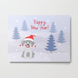 new year puppy with stick Metal Print