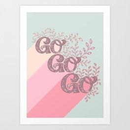 Go Go Go - Pink/Green Art Print
