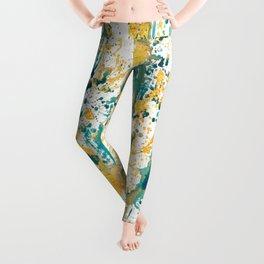 Teal and Gold Splatter Paint  Leggings