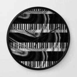 Modern Art Black And White Piano - Sharon Cummings Wall Clock