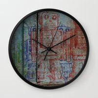 army Wall Clocks featuring Robot army by Ale Ibanez