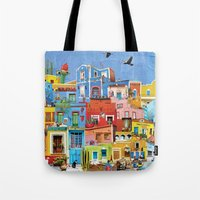 mexico Tote Bags featuring Mexico by Francesca Sacco