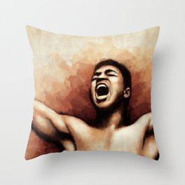 Ali The Greatest - Typographic portrait of boxing legend Throw Pillow