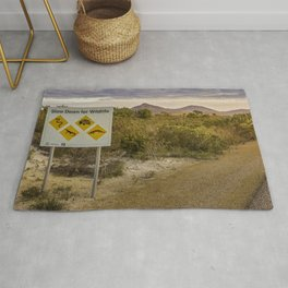 The Australian Roadtrip of Wildlife Road Signs Rug