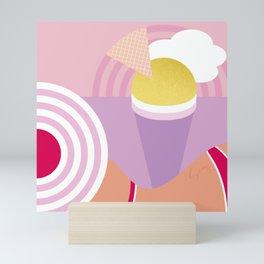 Beach girl and Ice cream rainbow by the sea Mini Art Print