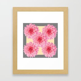 PINK DAHLIA FLOWERS IN YELLOW-GREY Framed Art Print