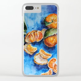 Oranges - Tangerines - Tropical Fruits in Watercolor Clear iPhone Case