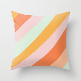 Summer Sorbet Pastel Curved Stripes Throw Pillow