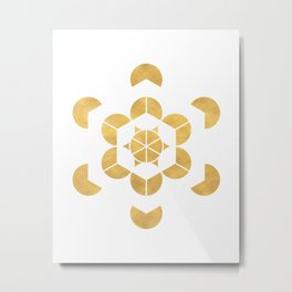 HEXAHEDRON CUBE sacred geometry Metal Print