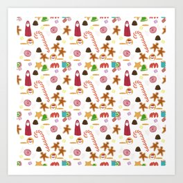 Christmas Sweeties Candies, Peppermints, Candy Canes and Chocolates Art Print