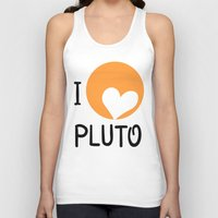 "nasa Tank Tops featuring ""I love Pluto"" fan art logo, inspired by heart-like relief on planet. Devoted to NASA mission to bou by Andrii Turtsevych"