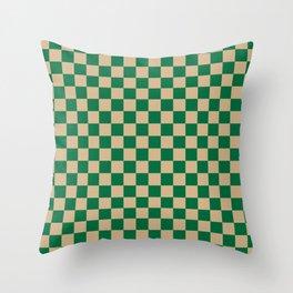 Tan Brown and Cadmium Green Checkerboard Throw Pillow