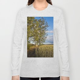 Corn Field with Birch Trees Long Sleeve T-shirt